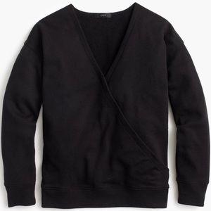 J. Crew Black Wrap Front Sweatshirt Sz S